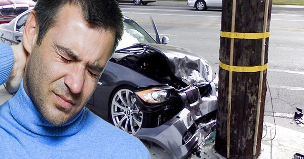 blog picture of man with neck injury after hitting a telephone pole with his car