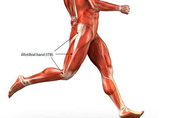 blog illustration of anatomical body in running motion focusing on the ililotibial band