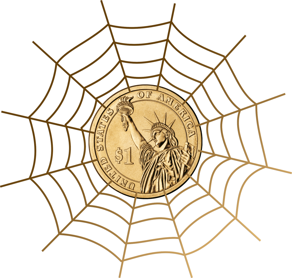 blog picture of a spider web with a dollar coin in the center