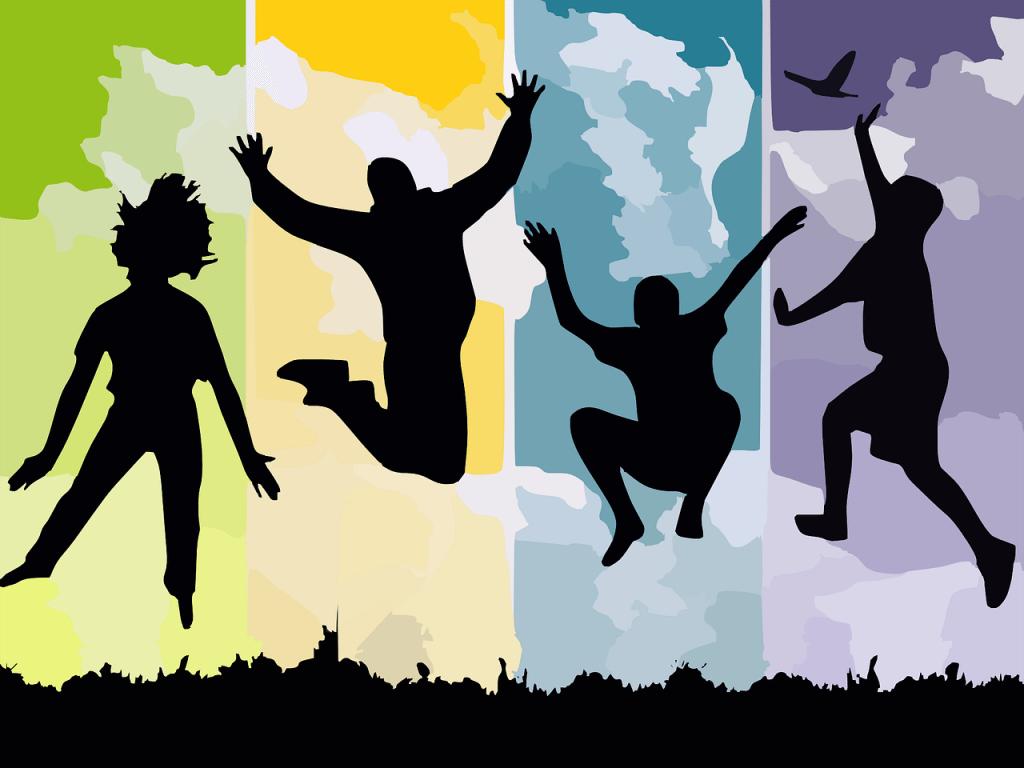 illustrazione di blog di persone che saltano e celebrano