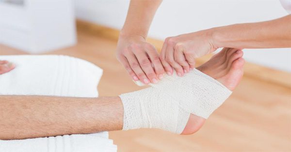 blog picture of ankle being wrapped