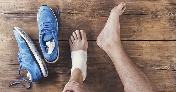 blog picture of runner's foot wrapped