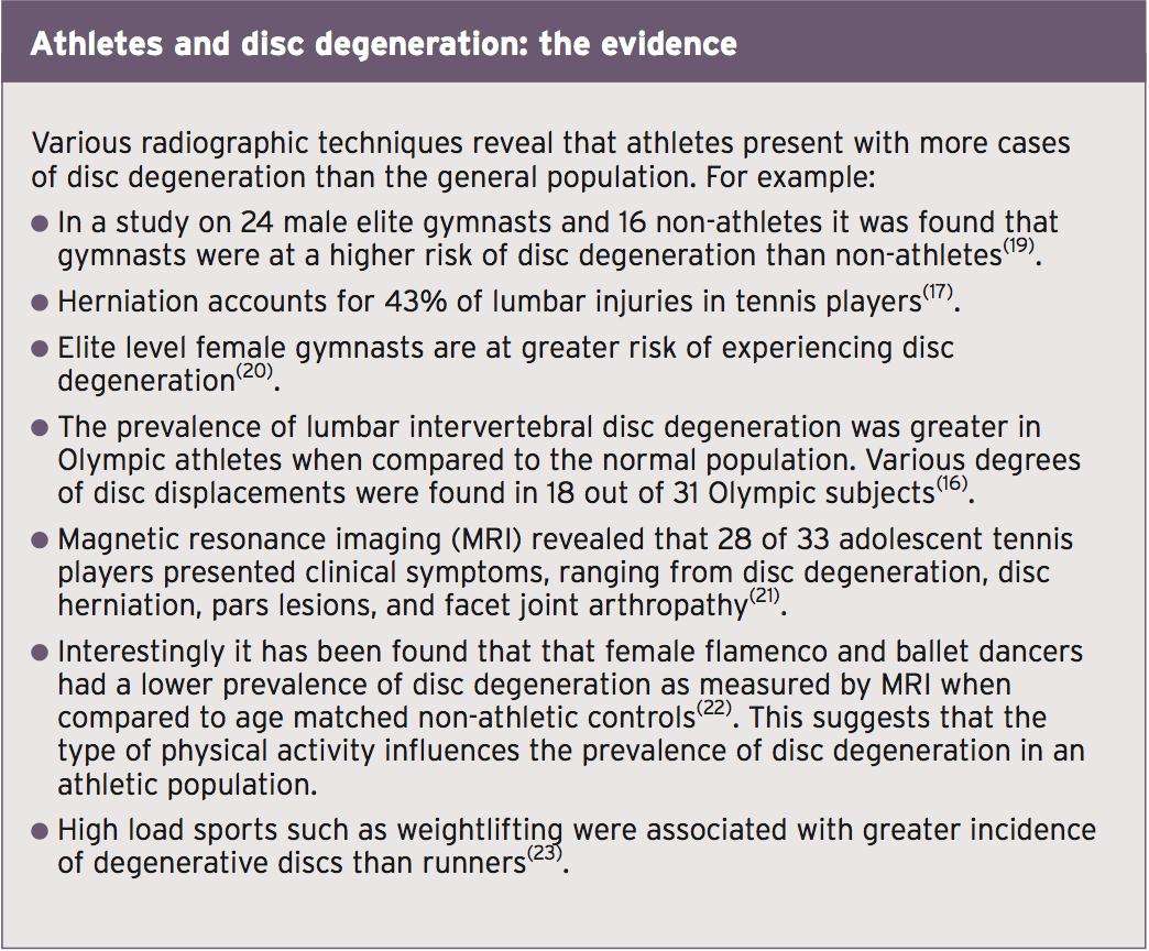 athletes and disc degeneration