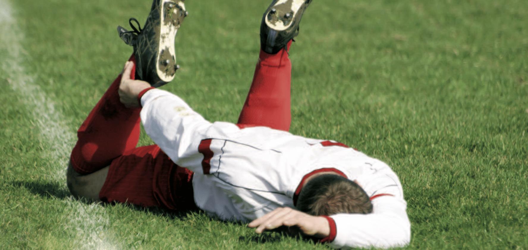 Soccer player sprain, strain, tear.