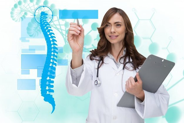 female chiropractor using virtual screen for spine exam