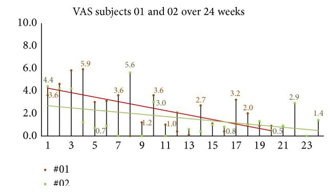 Figure 12 24 Week Follow Up Group Global Assessment of Headache VAS