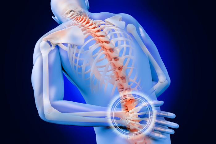 Gambar tubuh manusia menunjukkan struktur rangka dengan penekanan pada lumbar herniated disc. | El Paso, TX Chiropractor