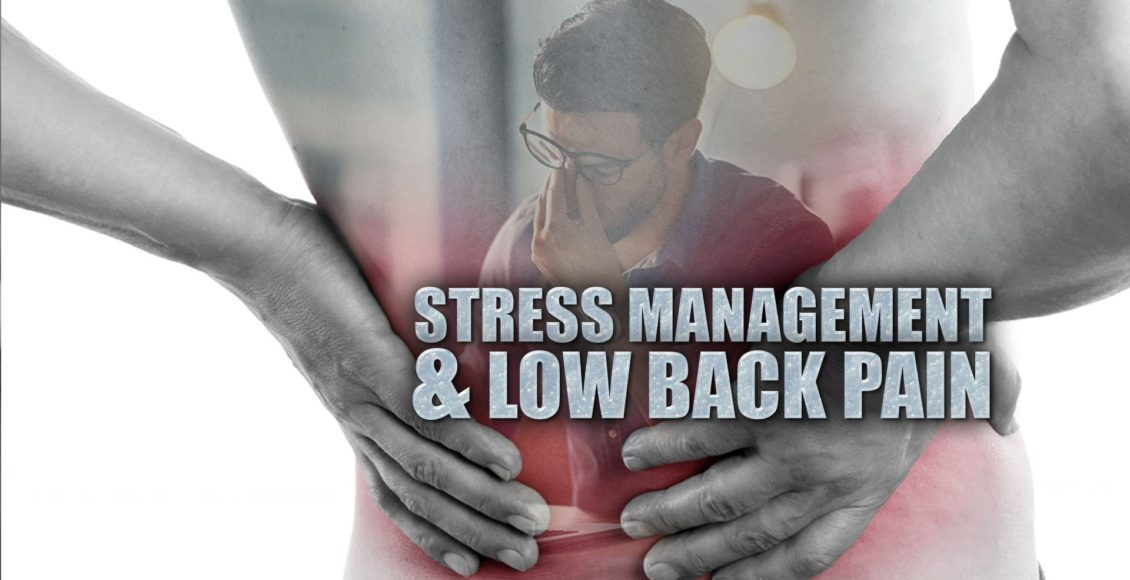 Close up image of the human body with an emphasis on lower back pain with a man showing stress.