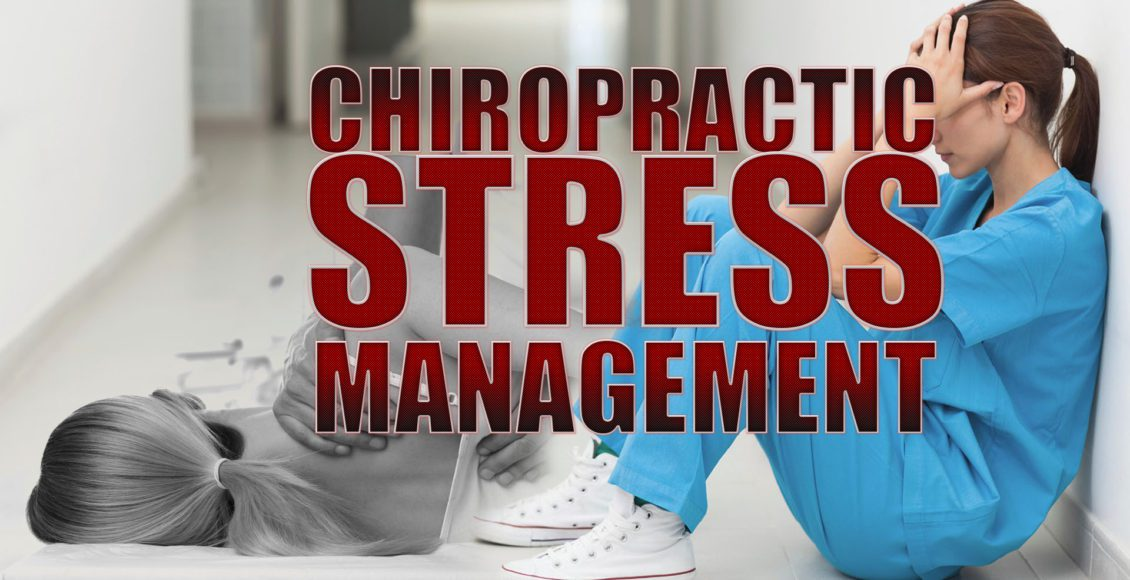 Image of a nurse with stress and a patient receiving chiropractic care and stress management for back pain.